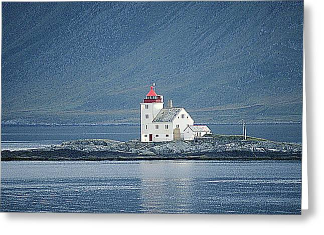 Norwegian Lighthouse Greeting Cards - Flavar Lighthouse  Greeting Card by Nancy Hoyt Belcher