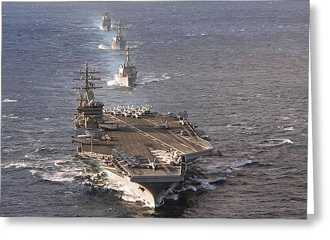 Strike Group Greeting Cards - Fleet Of Ships Sail In Formation At Sea Greeting Card by Stocktrek Images