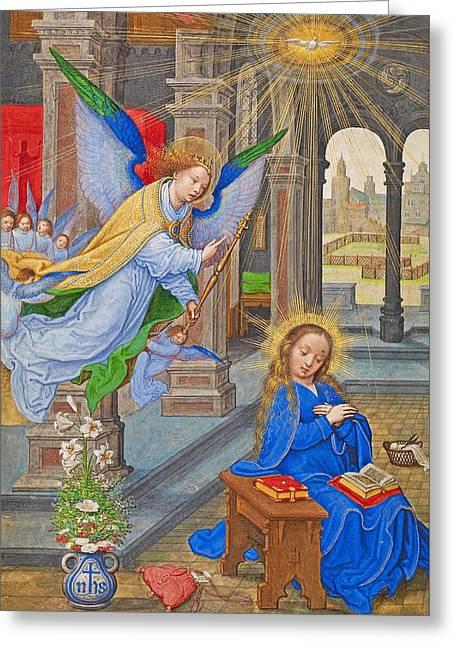 Flemish Annunciation Greeting Card by Munir Alawi