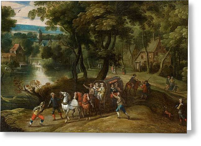 Flemish School, 17th Century, Wooded Landscape With Robbers, Men,lake Greeting Card