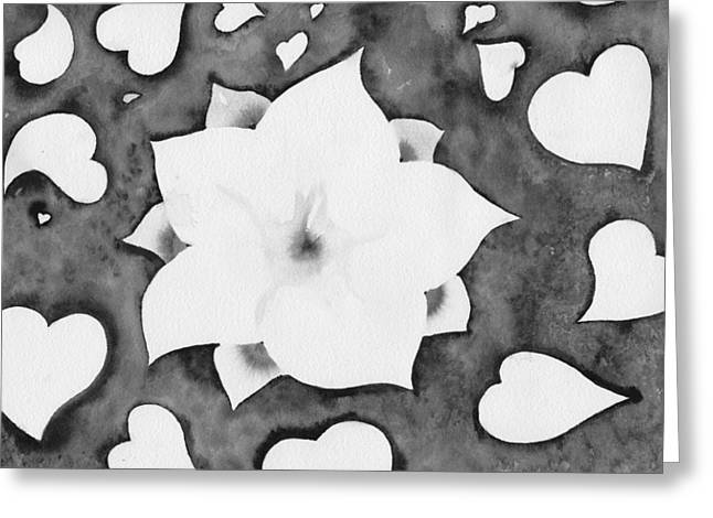 Greeting Card featuring the painting Fleur Et Coeurs Monochrome by Marc Philippe Joly