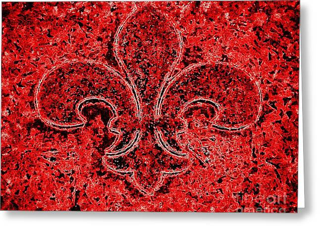 Fleur De Lis Red Ice Greeting Card