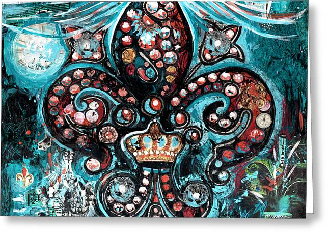 Greeting Card featuring the painting Fleur De Lis Steampunk Style by Genevieve Esson