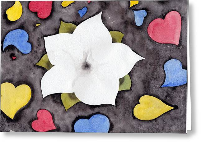 Greeting Card featuring the painting Fleur Et Coeurs by Marc Philippe Joly