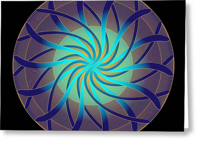 Greeting Card featuring the digital art Fleuron Composition No. 14 by Alan Bennington