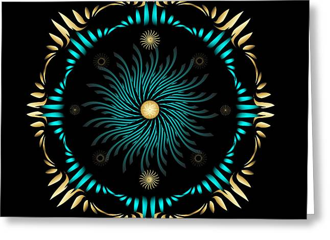 Greeting Card featuring the digital art Fleuron Composition No. 63 by Alan Bennington