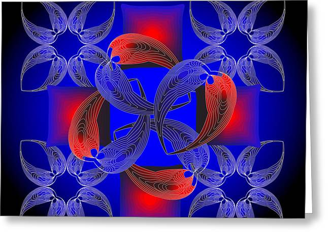 Greeting Card featuring the digital art Fleuron Composition No. 71 by Alan Bennington