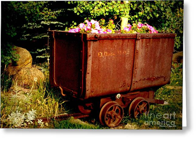 Fleurs In Rustic Ore Car Greeting Card by Christine S Zipps