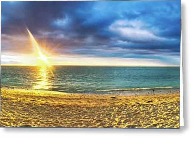 Flic En Flac Beach At Sunset. Panorama Greeting Card