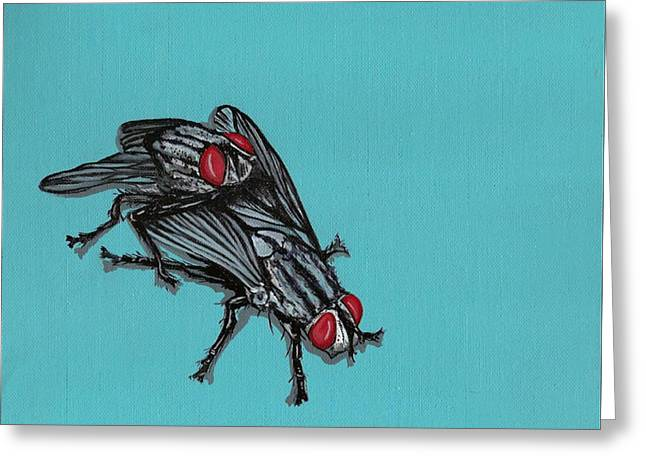 Greeting Card featuring the painting Flies by Jude Labuszewski