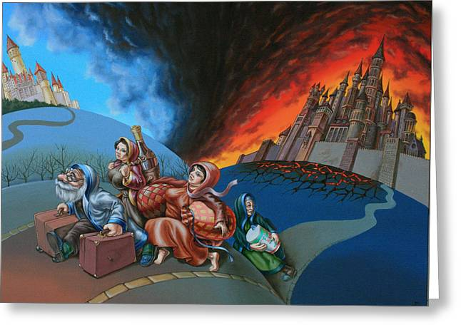 Flight Of Lot Out From Sodom Greeting Card
