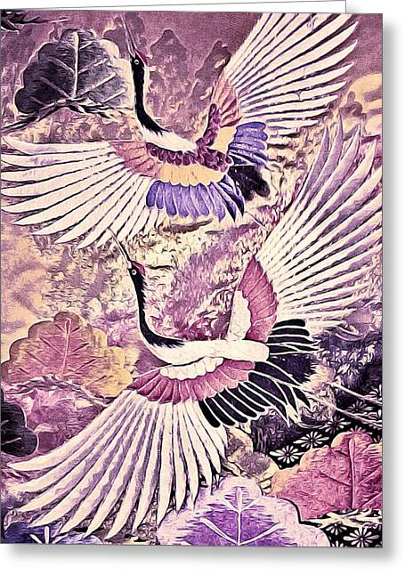 Flight Of Lovers - Kimono Series Greeting Card