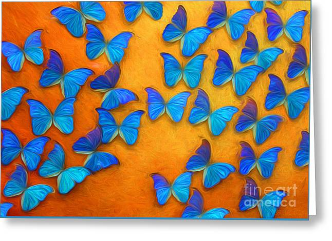 Flight Of The Blue Butterflies Greeting Card by Barbara McMahon