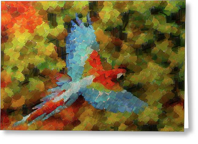 Flight Of The Macaw Greeting Card by Mario Carini