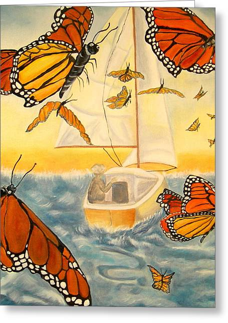 Flight Of The Monarchs Greeting Card by Kathern Welsh