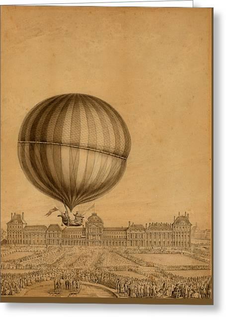 Flight Over Paris Greeting Card