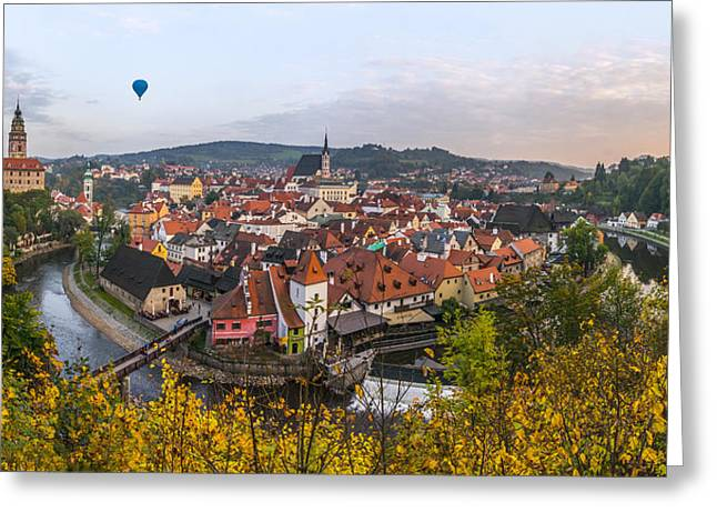 Flight Over The Medieval Town Greeting Card