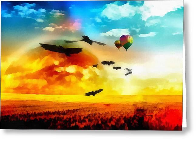 Flight Paths Greeting Card by Anthony Caruso