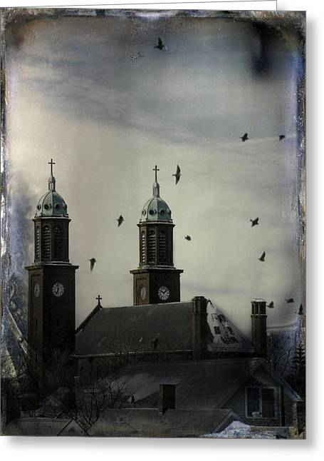 Flight Through The Steeples Greeting Card by Gothicrow Images