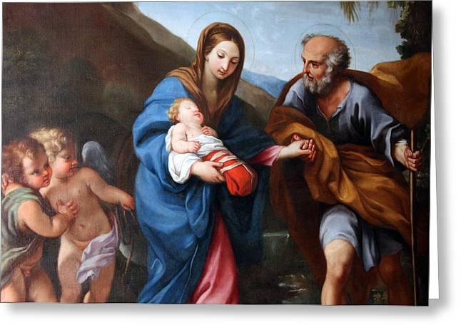 Baby Jesus Greeting Cards - Flight to Egypt Greeting Card by Munir Alawi