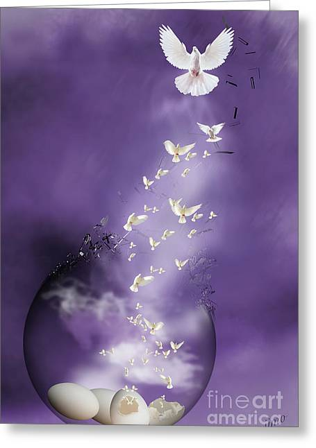 Greeting Card featuring the mixed media Flight To Freedom by Jim  Hatch