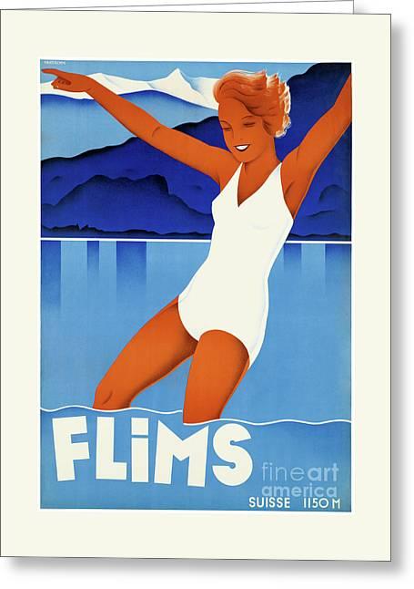 Flims Switzerland Vintage Travel Poster Restored Greeting Card