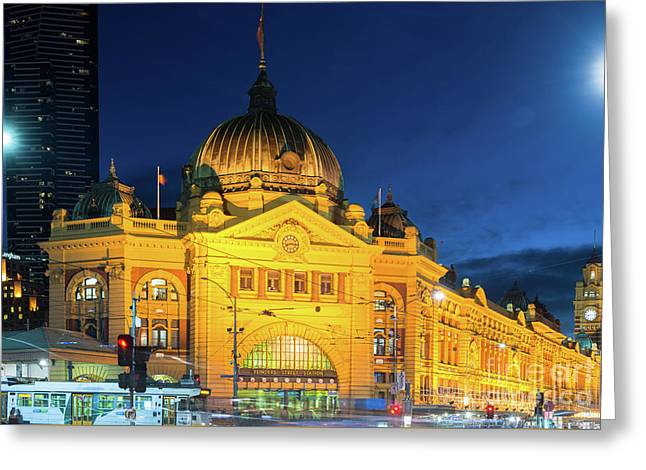 Flinders Street Station Greeting Card by Andrew Michael