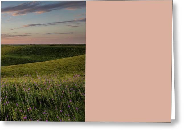 Flint Hills Sunset Pano Greeting Card by Scott Bean