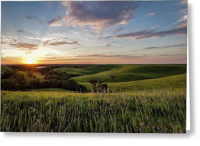 Flint Hills Sunset Greeting Card by Scott Bean