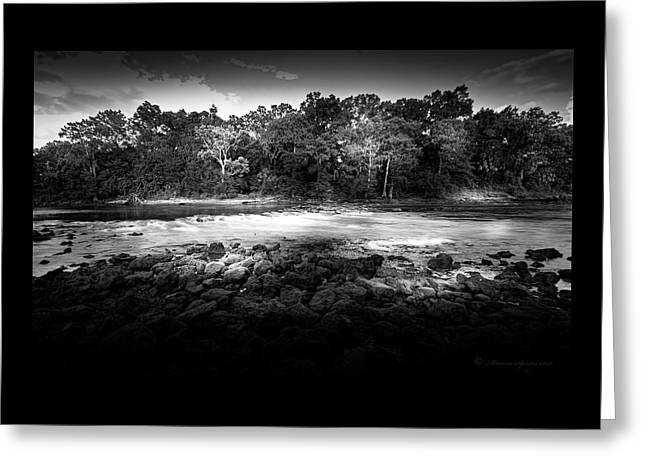 Flint River Rapids B/w Greeting Card