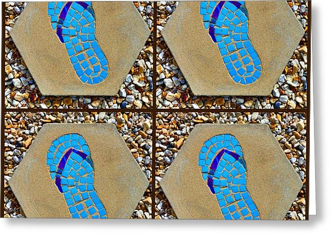 Flip Flop Square Collage Greeting Card