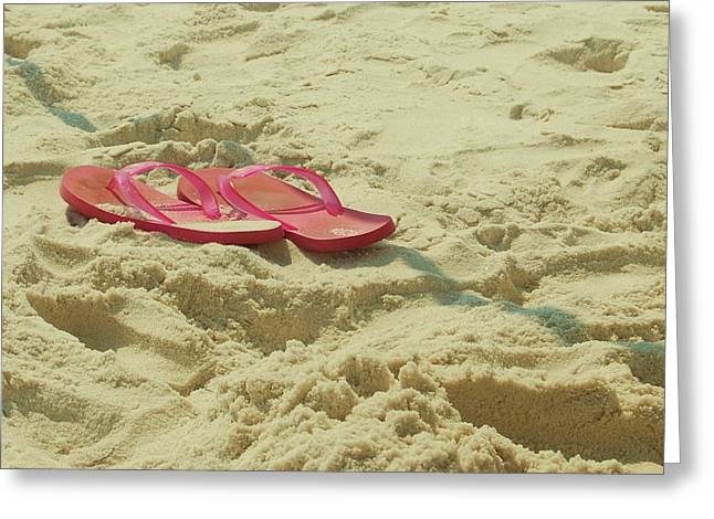 Flip Flops In The Sand Greeting Card by Beverly Hammond
