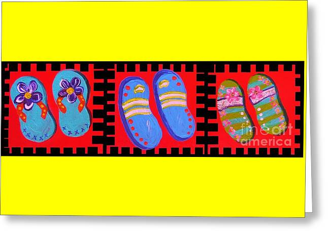 Flip Flops Times Three Greeting Card