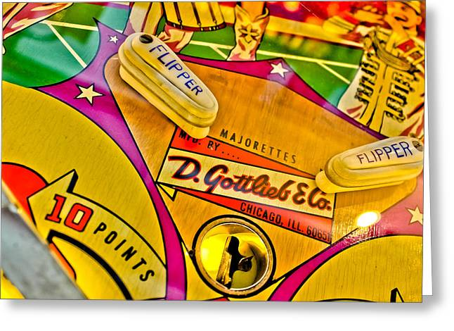 Flip It - Pinball Greeting Card by Colleen Kammerer
