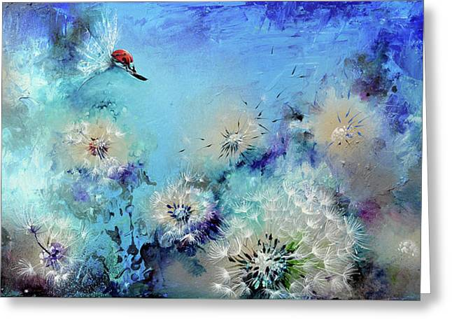Flirt - Ladybug On Dandelion Greeting Card