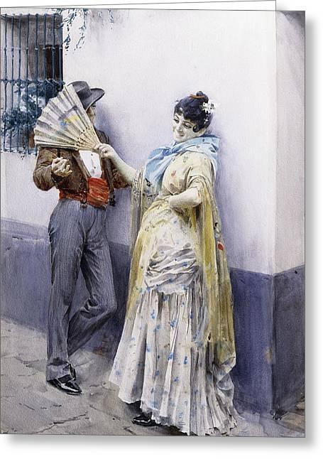 Flirtation Greeting Card by Anders Leonard Zorn