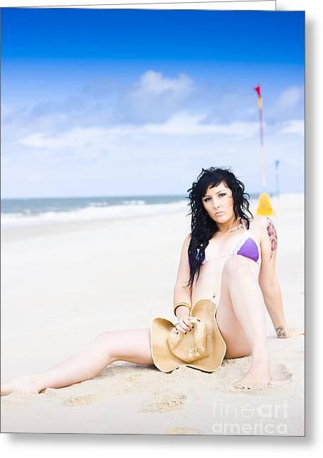 Flirtatious Beach Portrait Greeting Card by Jorgo Photography - Wall Art Gallery