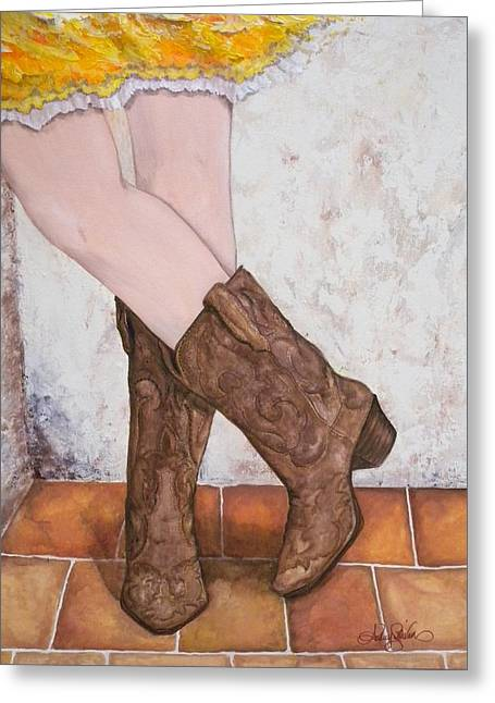 Cowgirl Skirt Greeting Cards - Flirtin Cowgirl Greeting Card by Audrey Sullivan
