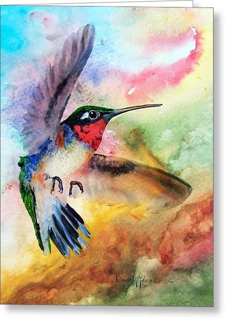 Da198 Flit The Hummingbird By Daniel Adams Greeting Card