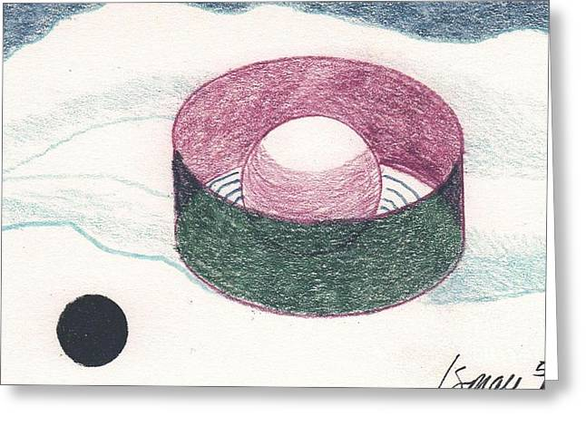 Greeting Card featuring the drawing Floating Can With Black Sun by Rod Ismay