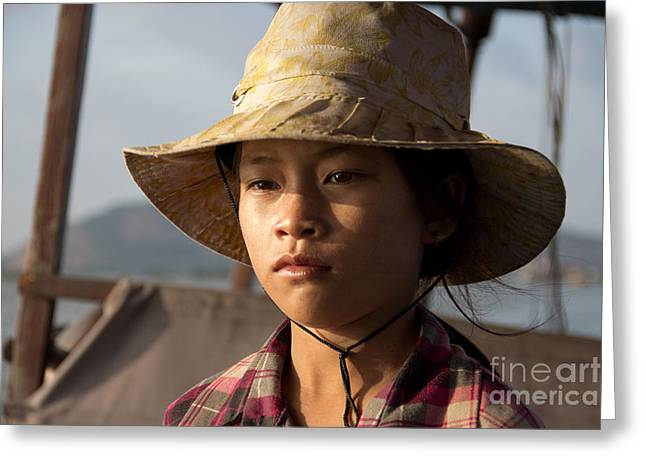 Floating Drink Seller Girl On The Tonle  Sap Lake In Cambodia Greeting Card by Jason Rosette