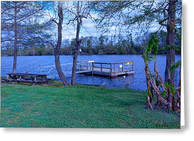 Floating Fishing Dock Greeting Card by Bill Perry