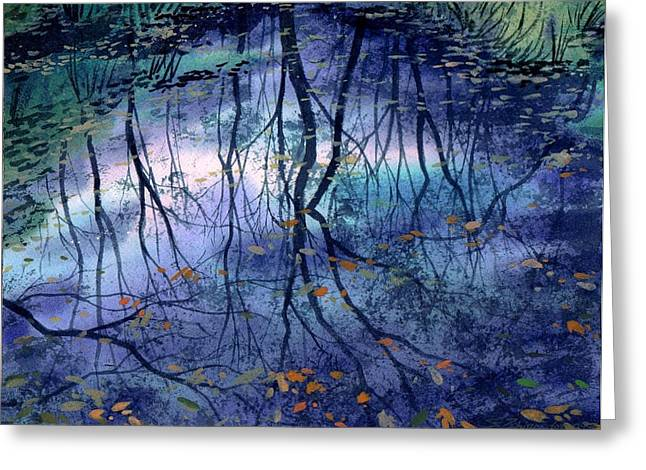 Floating Leaves Greeting Card by Sergey Zhiboedov
