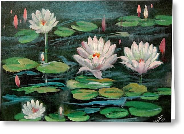 Floating Lillies Greeting Card by Sai Shyamala Ramanand
