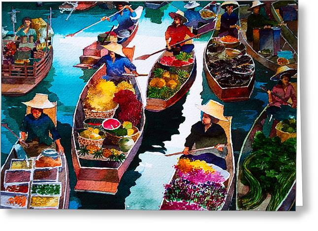 Filipino Artists Greeting Cards - Floating Market Greeting Card by V  Reyes