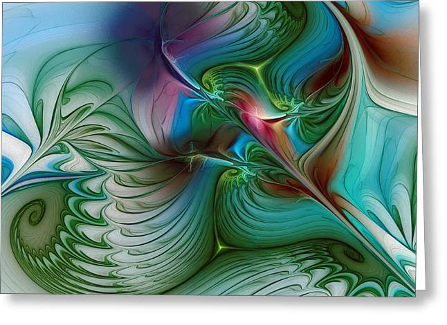 Greeting Card featuring the digital art Floating Through The Abyss by Karin Kuhlmann