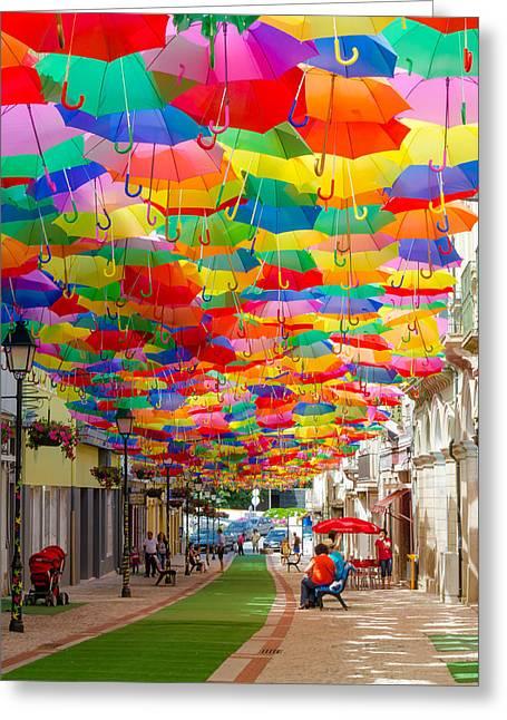 Floating Umbrellas Greeting Card