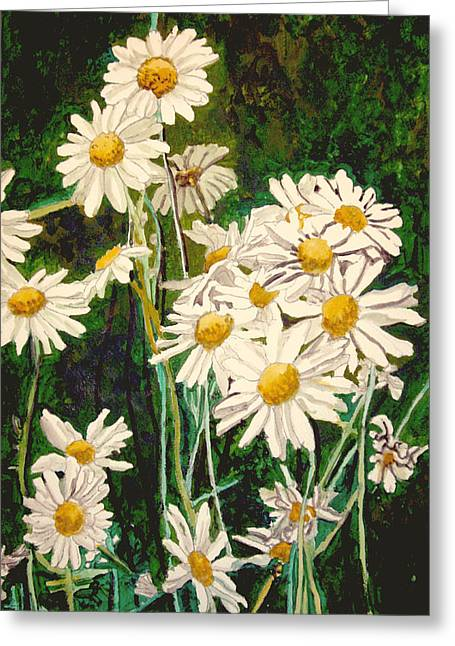 Greeting Card featuring the painting Flock Of Daisies by Jim Phillips
