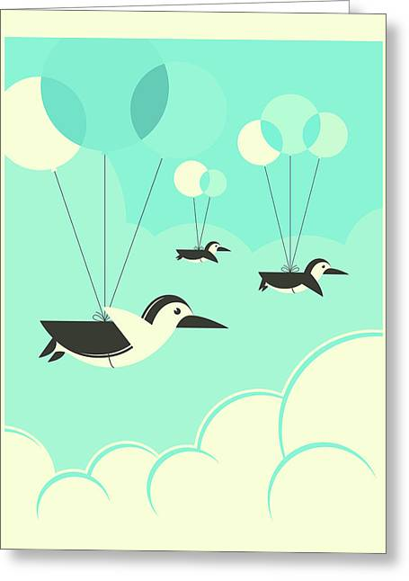 Flock Of Penguins Greeting Card