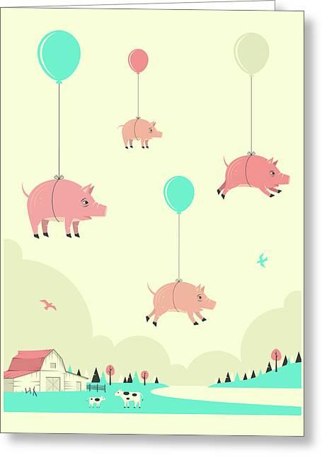 Flock Of Pigs Greeting Card